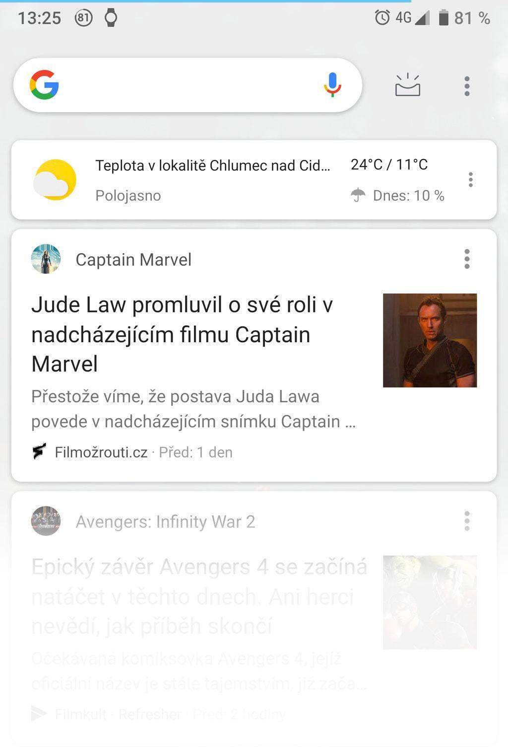 Android náhled Google obrazovky