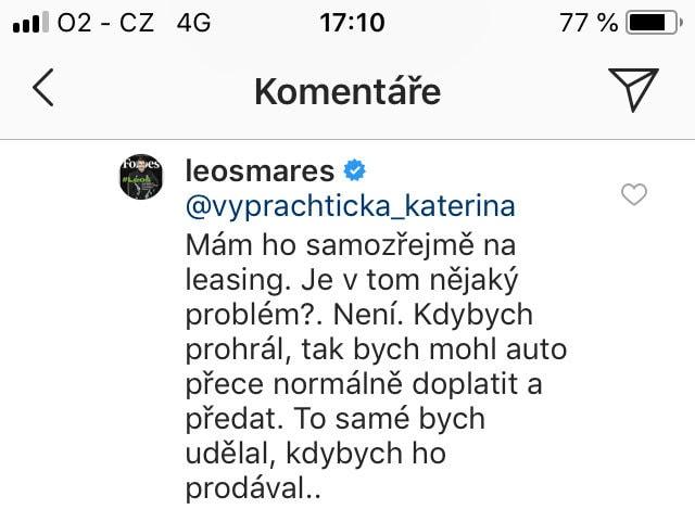 Leoš Mareš komentář Instagram