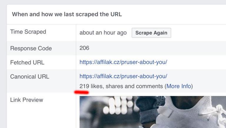 Zásah článku o About You na Facebooku po 48 hodinách - 219 lajků/sdílení/komentářů