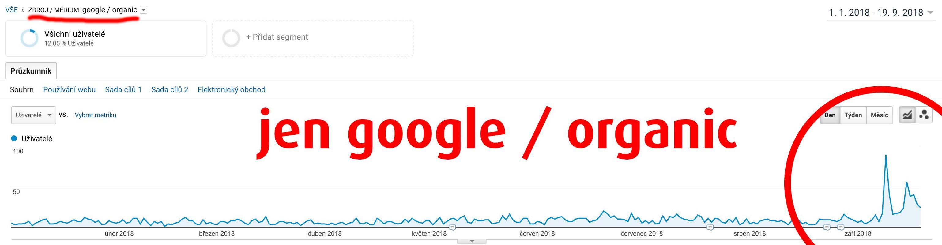 Návštěvnost blogu jen z google / organic